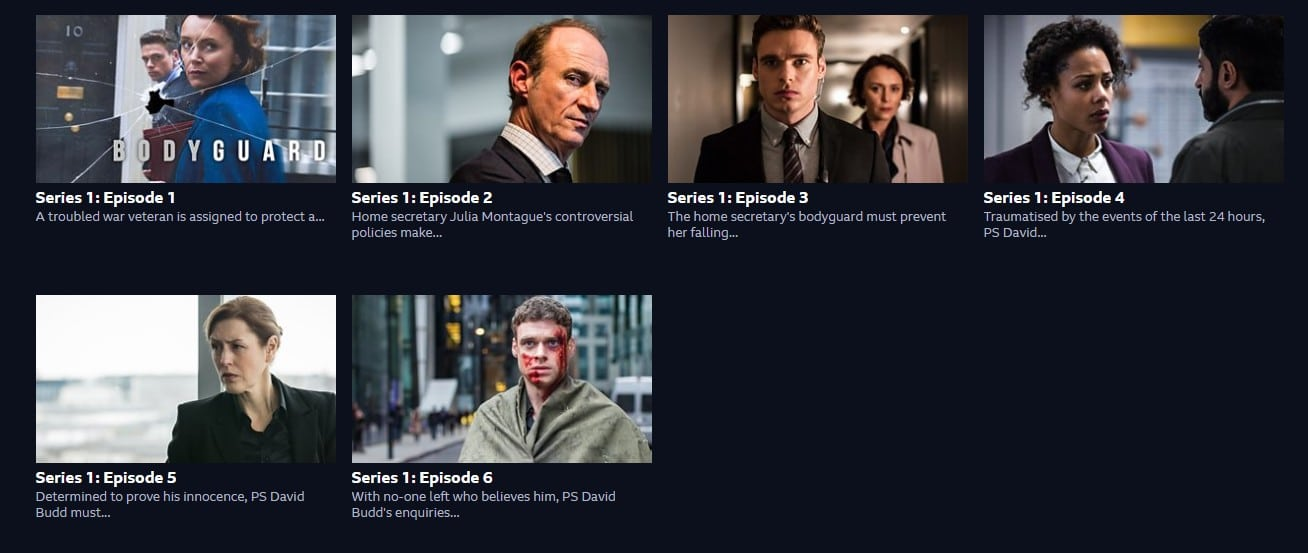 I am watching Bodyguard on the BBC website